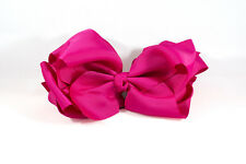 Unit of 10 Extra Large 5 Inch Fuschia Hair Bow on Clip Grosgrain