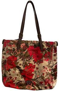 "Sakroots Artist Circle Tote Bag Flower Power Floral Shopper Coated Canvas 17X14"""