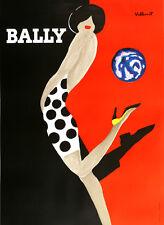 Original Vintage Poster Bally Kick Large by Bernard Villemot 1989 Mod Classic