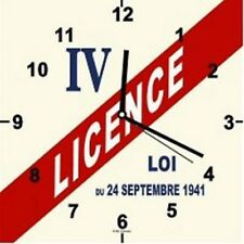 PENDULE HORLOGE MURALE DECO VINTAGE LICENCE IV loi 24 SEPT 1941 METAL 30x30 CM