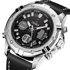 Reloj de Pulsera Ohsen Reloj electrónico para Hombres Digital Cuarzo Militar Deportivo Cuero Banda