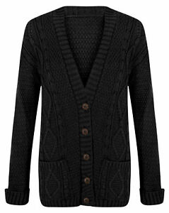 Women's Ladies Chunky Cable Knit Button Cardigan Long Sleeves Grandad Plus Sizes