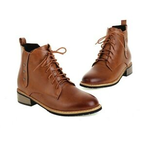 Women Ladies Low Heel Round Toe Outdoor Casual Ankle Boots Chelsea Shoes 34-47 D