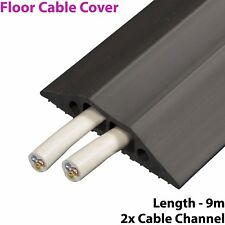 9m x 83mm Heavy Duty Rubber Floor Cable Cover Protector - Twin Channel Conduit