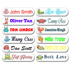 Personalised Name Stickers x25 Label Tags Lettering Waterbottle Lauch Box Pencil