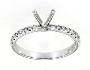 Real Natural Diamond Engagement Wedding Ring Fine Jewelry 14K White Gold 0.23CT