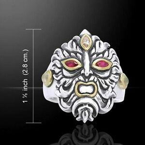 Green Man .925 Sterling Silver Ring by Peter Stone Jewelry Gem Eyes Rebirth