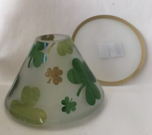 Yankee Candle Green & Gold Shamrock Jar Shade/Topper and Candle Tray/Plate
