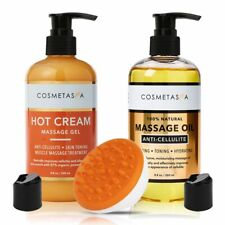Anti Cellulite Massage Oil & Hot Cream Massage Gel 8.8 oz W Cellulite Massager