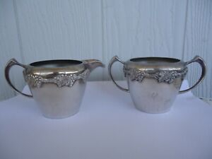 vintage wm a rogers old english reproduction silver milk jug sugar bowl