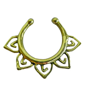 Golden Colored Brass Nose Ring Fake Septum Tribal Non Pierced Nose