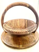 Vintage folk art wooden spiral cut collapsable basket with handle cottage core