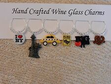 """"""" I LOVE NY"""" SET OF 6 HAND CRAFTED  Wine Glass Charm drink markers"""
