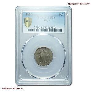 MORUZZI - United States of America 5 Cents 1866 Shield Nickel PCGS AU58