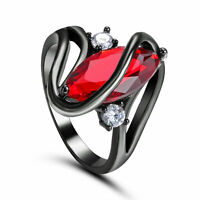 SZ 5.5 Marquise Cut Red Ruby Wedding Ring 10Kt Black Gold Filled Valentine Gift