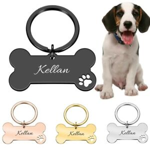 Personalized Dog tag.Engraved name & number,Bone shaped adjustable tag with ring