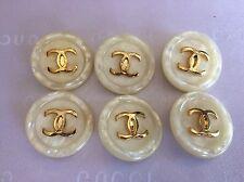 24mm. Set 6 pcs Vintage Chanel White & Gold Color CC Logo Circle Buttons #A115