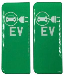 Electric Car EV Symbol Gel Domed Number Plate Decals