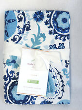 Pottery Barn Adya Suzani Print Organic Standard Sham Cotton Blue White New