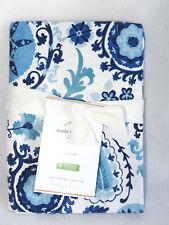Pottery Barn Adya Suzani Print Standard Sham Organic Cotton Blue White New