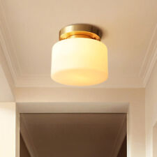 Vintage Brass Ceiling Light Flush Mount with White Glass Round Shade Porch Lamp