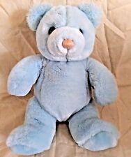 Vintage Gund Baby Time Blue Teddy Bear Plush Animal 1986 Rattle Yarn Nose