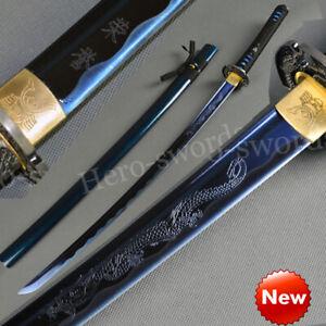 "Japanese Samurai Sword High Carbon Steel Katana With Blue engraved ""Dragon&荣誉"""