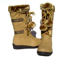 New Women's Fur Lined Mid Calf Boots Beige Shoes Winter Snow Ladies size 6