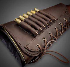 Leather Rifle Buttstock Ammo Carrier Cartridge Holder Leather Stock Cover Cheek