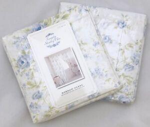 Rachel Ashwell Simply Shabby Chic BLUE BRITISH ROSE Window Panels Curtains Drape
