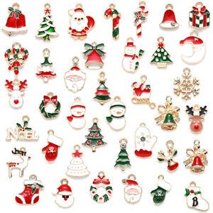 Mixed Christmas Charms Enamel Pendants DIY Xmas Bracelet Jewelry Making Craf*SG
