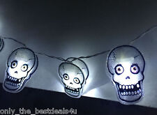 HAUNTED HOUSE- Spooky Skull Halloween Lights 10 LED Party Prop/Window/Wall/Door