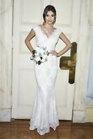 RRP £120 NEW QUIZ Clara White Lace Bardot Fishtail Bridal Dress, SZS 8-16