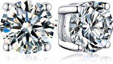 Sterling Silver Stud Earrings Cubic Zirconia Stud Earring Round Women Men 6mm