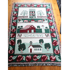 Large Vintage country Woven Tapestry Blanket Throw apple alphabet school farm