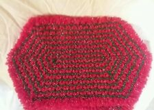 VTG Christmas Crochet Dinner Table Placemats Decor Set of 4 Holiday holly green