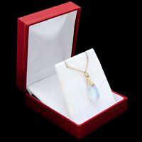 Antique Vintage Deco Gold Filled GF Iridescent Moonstone Glass Pendant Necklace