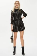TOPSHOP - Black Polka Dot Shirt Dress - UK 12