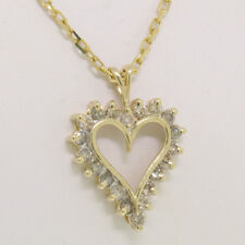 """14k Yellow Gold 0.80ctw Round Champagne Diamond 20"""" Open Heart Pendant Necklace"""