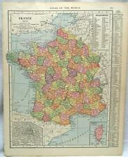 FRANCE & BENELUX COUNTRIES  ATLAS MAP PAGE 1916 WWII VINTAGE RAND MCNALLY