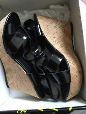 JONES PATENT BLACK Size 7 Leather SANDALS WEDGE HEELS KENTON NEW Unworn