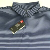 Under Armor Heat Gear Loose Fit Blue Striped Golf Polo Shirt Mens 3XL XXL NWT