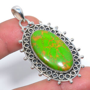 """Copper Green Turquoise Handmade 925 Sterling Silver Jewelry Pendant 2.15"""" M1475"""