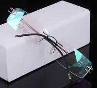 Rechteckig Luxus Herren Brillengestelle Randlos Titan Flexibel Rx Leicht Brille
