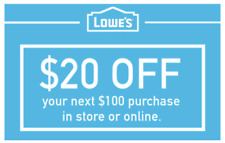 THREE Lowes $20 OFF $100 INSTANTCoupons ONLINE or INSTORE - FAST 3-Min Delivery