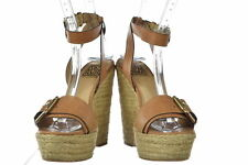 Pour La Victoire Womens Brown Espadrilles Sz 7.5 Wedge Heels Leather Shoes