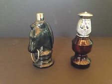 Lot of 2 Vintage AVON Empty Horse Head King Chess Pieces Glass Bottles