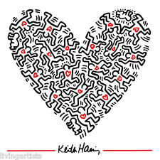 Keith Haring HEART OF MEN Valentine 16x20 Giclee Pop Art Print