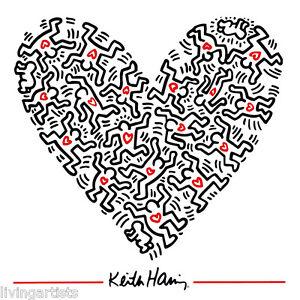 Keith Haring HEART OF MEN 16x20 Pop Art Giclee Print **SALE