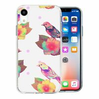 For Apple iPhone XR Silicone Case Birds Flowers - S1283